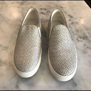 Gray woven slip on sneakers